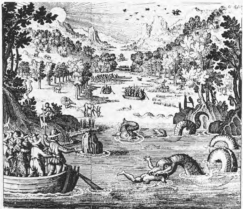 Possibly the first depiction of a MULTIHUMPED SEA MONSTER in the Americas